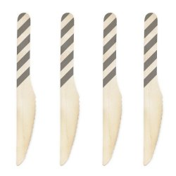 Dress My Cupcake 6.5-Inch Natural Wood Dessert Table Knife, Grey Striped, Case Of 1000