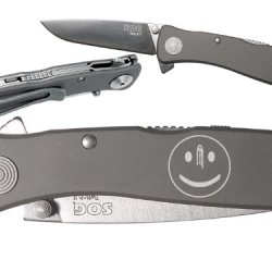 Smiley Face Bullet Hole Custom Engraved Sog Twitch Ii Twi-8 Assisted Folding Pocket Knife By Ndz Performance
