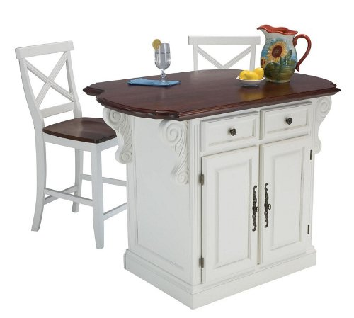 Image of 3pc Kitchen Island and Stools Set in White Finish (VF_HY-5007-948)