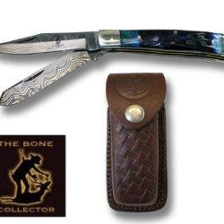 Real Two Blade Damascus Steel Pocket Folding Knife-Blue Bone Handle