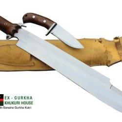 "18"" Blade Predator Euk Survival Machete Military Kukri With Small Utility Knife - Full Tang Khukuri Or Khukris Handmade By Ex Gurkha Khukuri House In Nepal"