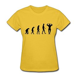 Women Bodybuilding Evolution Awesome T Shirt Size S Color Yellow