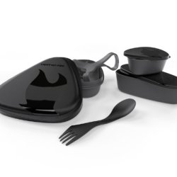 Light My Fire 6-Piece Bpa-Free Lunch Kit With Plate, Bowl, Storage Boxes And Spork, Black