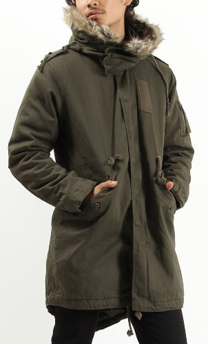 (バレッタ)Valletta ミリタリーモッズコート ファー付き 中綿 ダウン モッズ ジャケット コート ブルゾン メンズ Lサイズ カーキ