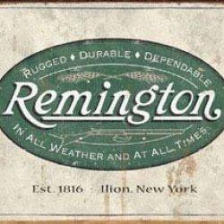 Remington Guns Rifles Hunting In All Weather Logo Distressed Retro Vintage Tin Sign