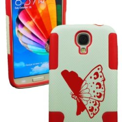 Plastic & Silicone Case For Galaxy S4 Butterfly Cover (Red)- Lifetime Warranty