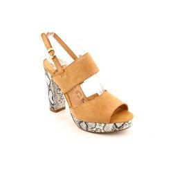 Kelsi Dagger Bobby Jo Womens Size 10 Tan Peep Toe Suede Platforms Heels Shoes