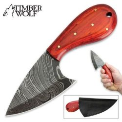 Timber Wolf Orange Pakkawood & Damascus Steel Fixed Blade Skinner Knife