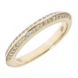 14K Yellow Gold Diamond Knife Edge Wedding Anniversary Band Ring In Pave Setting 6.75 (1/3 Cttw, Si Clarity, G Color)