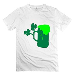 Man Shamrock Green Beer Art T-Shirts - Funny Design White T-Shirt