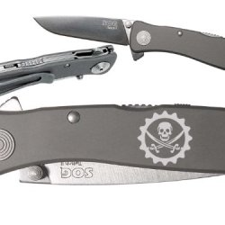 Gear With Skull Jolly Roger Custom Engraved Sog Twitch Ii Twi-8 Assisted Folding Pocket Knife By Ndz Performance