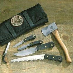 Knives Of Alaska Super Pro Pack With Wood Saw, Black Suregrip, Nylon Sheath