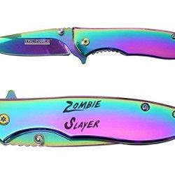 Zombie Slayer Txt Engraved Mirror Rainbow Finish Tac-Force Tf-573 Speedster Executive Model Folding Pocket Knife By Ndz Performance