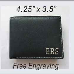 1 Personalized Engraved Genuine Leather Wallet Dark Brown, Anniversary, Father'S Day Gift