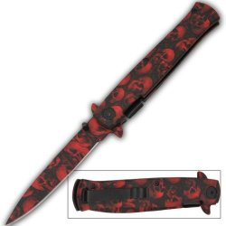 Red & Black Skull Blade Milano Zombie Godfather Style Spring Assist Opening Pocket Knife