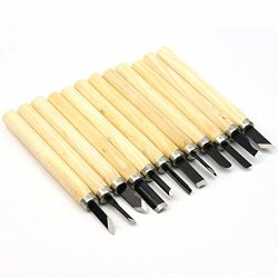 New 12 Assorted Steel Blades Wooden Carving Mini Chisels Diy Hand Tool Set Kit