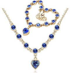 Chariot Trading -Fashion 2014 New Heart Rhinestone Austrian Crystal Necklace Bracelets Set ( Color : Gold Treasure Blue )
