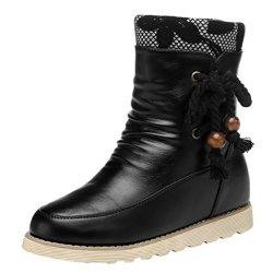 Guciheaven Women Winter New Style Add Wool Warm Mid-Calf Snow Boots(7.5 B(M)Us, Black)