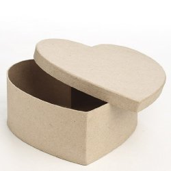 Ready To Personalize Plain Paper Mache Heart Box With Lid For Trinkets, Candies, And More- Set Of 4