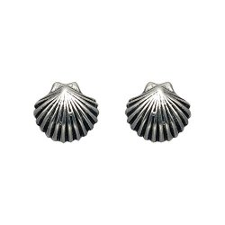 Small Sterling Silver Scallop Shell Stud Earrings