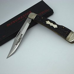 Winchester Knives 1927 Clip Blade Lockback Knife With Black Jigged Peachseed Bone Handles