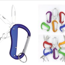 Vas 3N1 Versabiner 3 Blade Aluminum Snap Link Utility Carabiner W Key Ring- Ships Assorted Random Colors