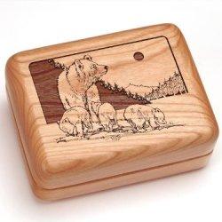 "3X4"" Box With Money Clip/Pocket Knife - Bear & Cub"