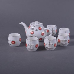 Granvela Tea Sets Tea Cups Pure Bone China Chinese Fu Designed Artworks A Pot Of 6 Cups