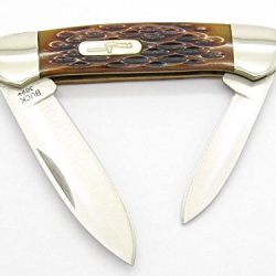Buck 389 Jigged Amber Brown Bone Canoe Duo 2 Blade Medium Knife Bu389A ~ New 2007