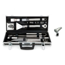 Mr. Bar-B-Q 160173 18-Piece Platinum Prestige Stainless Steel Tool Set And Magnetic Grill Light Combo Kit