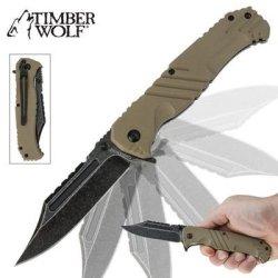 Timber Wolf Havoc Stonewash Assisted Opening Folding Pocket Knife Tan
