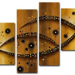 Sangu Wood Framed Abstract Stare Home Decoration Modern Oil Painting Gift On Canvas 4-Piece Art Wall Decor