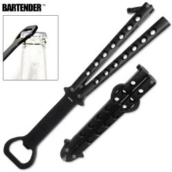 "Bp-1 The ""Bartender""- X35Fv8X Bottle Opener Butterfly Folding 9Y3Lcz Opener-Black Folding Knife Edge Sharp Steel Ytkbio Tikos567 Bgf The ""Bartender""- Bottle Opener Butterfly Folding Bottle Eydep Opener-Black. Butterfly Bottle Tqwztk5L Opener Instead Of A"