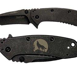 Lone Wolf Moon Engraved Kershaw Cryo Ii Tanto Blackwash 1556Tbw Folding Speedsafe Pocket Knife By Ndz Performance