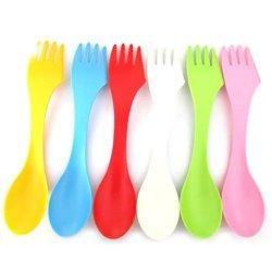 Huntgold 2X Spoon Fork Knife Cutlery Set Camping Hiking Utensils Spork Tableware 3 In 1(Red)
