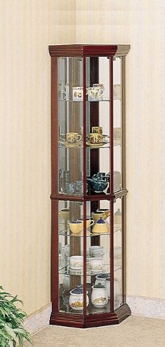 Image of Benton City Curio Corner Cabinet with Mirror in Cherry (VF_AZ00-628x35651)