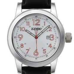 Zippo Casual Watch With White Dial And Leather Strap, Black