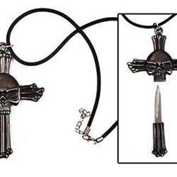 Swordmaster - Steel Cross Skull Knife Necklace Discreet Hide Away Small Blade Dagger Pick