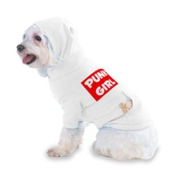 Punk Girl Hooded (Hoody) T-Shirt With Pocket For Your Dog Or Cat Xs White