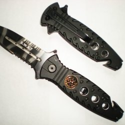 "8"" Black Swat Rescue Spear Point Camo Blade Assisted Opening Pocket Knife With Glass Breaker And Seat Belt Cutter!"