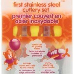 Vital Baby First Stainless Steel Cutlery Set, Orange