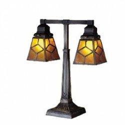 20 Inch H Diamond Mission Mica 2 Lt Desk Lamp Table Lamps