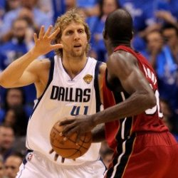 Miami Heat V Dallas Mavericks - Game Four, Dallas, Tx -June 7: Dirk Nowitzki And Joel Anthony Photographic Poster Print By Ronald Martinez, 8X12