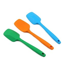 Givesurprise Bread Biscuits Butter Spreader Cake Scraper 8-Inch Heat-Resistance One-Piece Silicone Spatula, Set Of 3