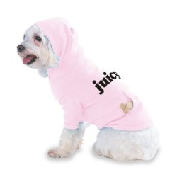 Juicy Hooded (Hoody) T-Shirt With Pocket For Your Dog Or Cat Size Small Lt Pink