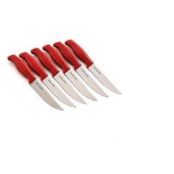 Kitchenaid 6-Pc Red Fine Edge Contoured Steak Knives
