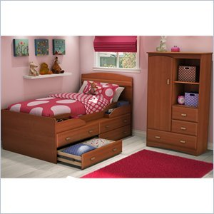 Image of South Shore Imagine Kids Twin Captain's Bed 4 Piece Bedroom Set in Morgan Cherry Finish (3576214-4PKG)