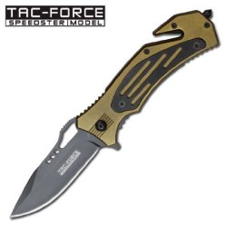 "3.25"" ""Two-Tone Handle"" Spring Assisted Rescue Knife - Green & Black"