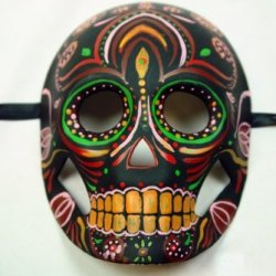 Yellow Black Mexican Sugar Skull Hand-Painted Paper Mache Mask