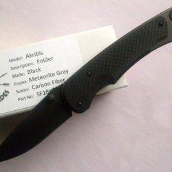 Spartan Blades Akribis Folder Knife Black Blade Meteorite Gray Frame Black Carbon Fiber Handles